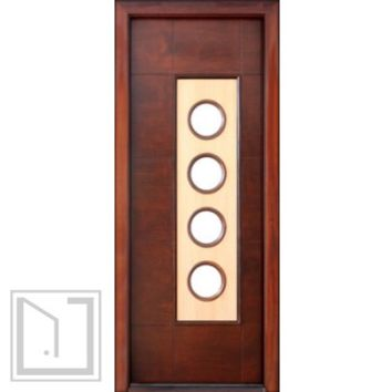 Prehung Low-E Single Door, Wind-load Rated, Contemporary Circle Design
