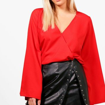 Stephanie Wrap Front Woven Blouse | Boohoo