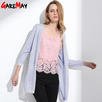 GAREMAY Long Cardigan Summer Women Kimono Knitted Tops Ladies Casual Linen Sun Protection Blouse For Women