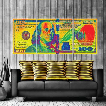 $100 Bill Money Art Retro Money Canvas Print