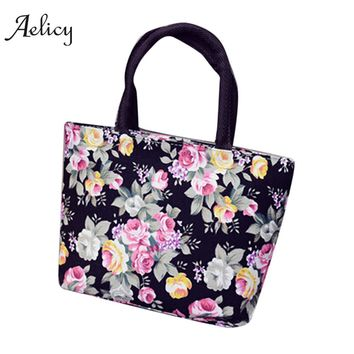 Aelicy  Fashion Women Girls Floral Printing Canvas Shopping Handbag Shoulder Tote Shopper Bag Tote Female Single Large Capacity
