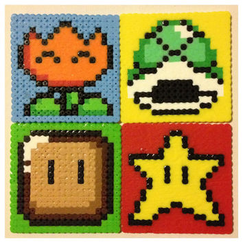 Super Mario Perler Coasters Nintendo Set of 4 by K8BitHero on Etsy