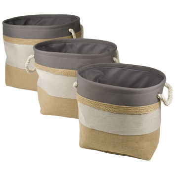 Open Top Nested Canvas and Burlap Storage Bins (Set of 3)