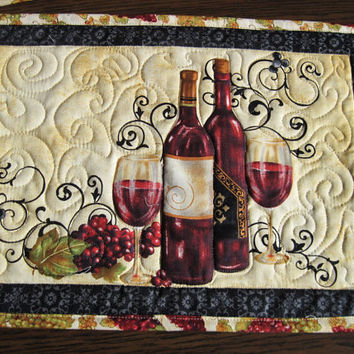 Placemat set of four Quilted Wine Bottles Wine a Little Youll Feel Better