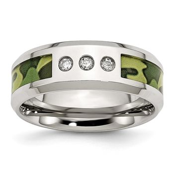 Stainless Steel Polished Camouflage 1/10ct. tw. Diamond 8mm Band Ring 8 to 13 Size