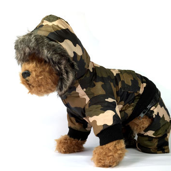 Water Resistant Camouflage Dog Jacket with Hoodie