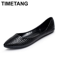 TIMETANG Fashion  Leather Ballet Flat Shoes Woman Pointed Toe Plus Solid Black Shallow Soft Office Work Pregnant Shoes Woman