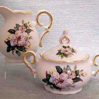 Magnolia Porcelain Cream and Sugar Set