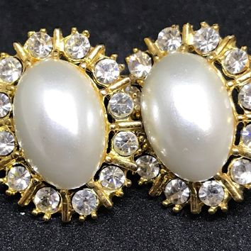 Vintage  Pierced Faux Pearl/Rhinestone Earrings