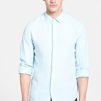 Men's Vince Linen Chambray Trim Fit Sport Shirt