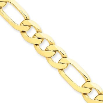 Men's 8.75mm, 14k Yellow Gold, Concave Figaro Chain Bracelet, 8 Inch