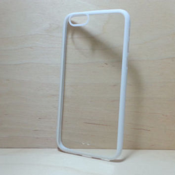 iPhone 6 (4.7 inches) Case Silicone Bumper and Clear Hard Plastic Back - White