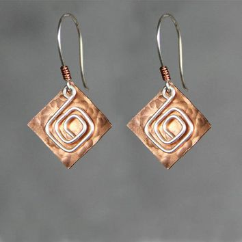 Greek Key Pattern Square Copper disc silver wire scroll drop earrings Bridesmaids gifts Free US Shipping handmade Anni Designs