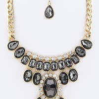 MIX CRYSTALS COLLAR STATEMENT NECKLACE SET