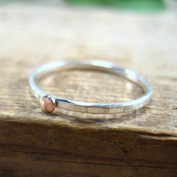 Stacking Ring Silver Hammered with Copper Dot 16g Single