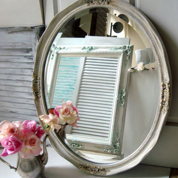Large Oval Ornate Mirror, Shabby Chic White and Gold Mirror, Off White Painted Cottage Chic Mirror