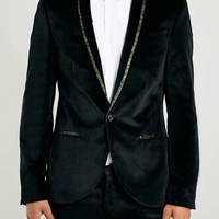 Noose & Monkey Black and Gold Velvet Blazer - New This Week - New In