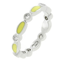 Yellow Link Enamel Stacker Ring, size : 05