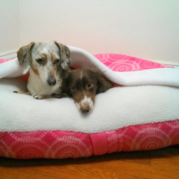Matching Pink Dog Pet Bed Cover and Blanket Set