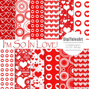 "Hearts digital paper ""I'm So In Love"" digital clip art papers in red, white, patterns, download, hearts background"