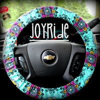 Steering Wheel Cover Disco Night Turquoise Hot Pink
