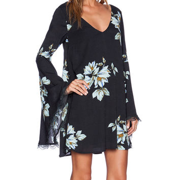 Lily Print Cutout Lace V-neck Bell Sleeve A-Line Mini Dress
