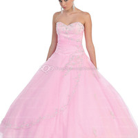 BallGown Sweetheart Tulle Floor-length Pink Beading Quinceanera Dress at sweetquinceaneradress.com