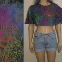 80s 90s crop top rainbow tie dye angel bell sleeve gypsy blouse shirt soft grunge boho music festival hippie hipster rave 70s L M