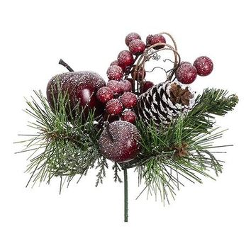 "Fake Red Berry and Pine Cone Holiday Pick with Snowy Apples - 6.5"" Tall"