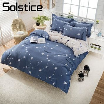 Solstice Home Textile Nebula Constellation Bdelinen Boys Kids Teen Bedding Sets Duvet Cover Pillow Slip Flat Bed Sheet King Twin
