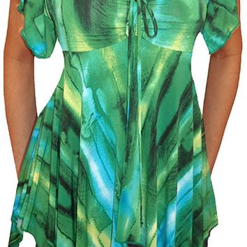 Funfash Plus Size Emerald Green Women's Empire Waist Top Shirt Clothing