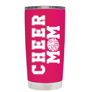 Pom Pom Cheer Mom on Hot Pink 20 oz Tumbler Cup