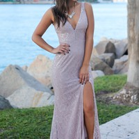 Dark Lavender Maxi Dress with Silver Lace Detail
