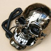 RJ11 Human Skull Phone Telephone with Glowing Eyes - SourceSquare.com