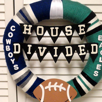 Yarn Wreath, House Divided- Cowboys vs. Eagles Yarn Wreath, Sports Wreath, Football Wreath