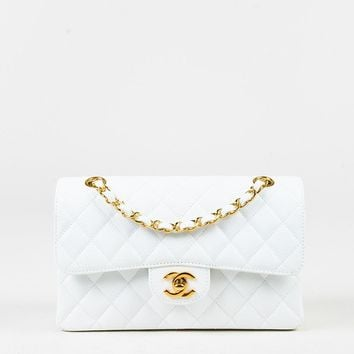 "Chanel White Caviar Leather Small ""Classic Double Flap"" Bag"