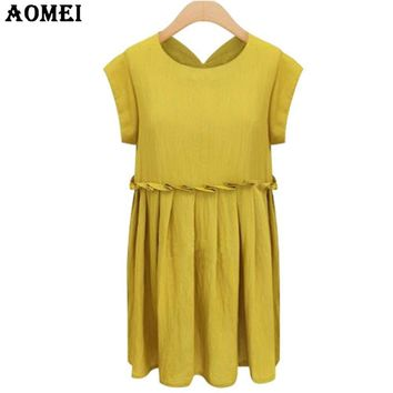 Women Summer Linen Sundress Ruffles Loose Yellow color Empire Waist Pleated Mini Dresses Casual Tunics Robes Clothing