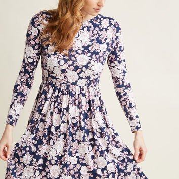 Jersey Long Sleeve Dress in Floral