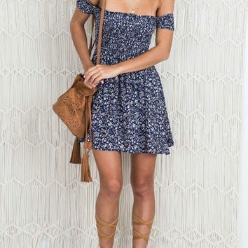 Casual Sexy Bateau Splash Print Off Shoulder Dress