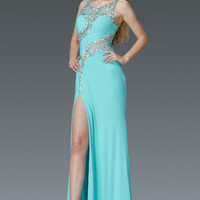 G2146 Sheer Illusion Beaded Jersey Prom Dress with High Leg Slit