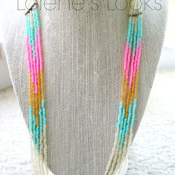 Multicolored Seed Bead Chevron/Arrow/Blue/Pink/Tangerine/Beaded/Beadwork/Bright/Summer Womens Necklace