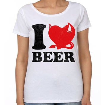 I Love Beer-Round Neck Women Tees 100% Cotton T-shirt | Cool T Shirt | Funny T-Shirt