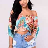 Resort Floral Top - Jade