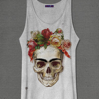 Frida kahlo Skull  Off white or grey Medium Tank tops Shirt One Size Only