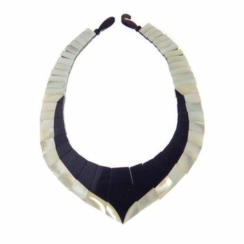 Monies Black White Shell Bib Necklace, Vintage, 1930s to 1980s