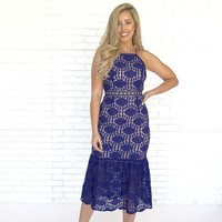 Lydia Lace Crochet Cut Out Midi Dress