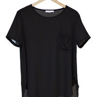 Pocket Scoop Neck Blouse in Black