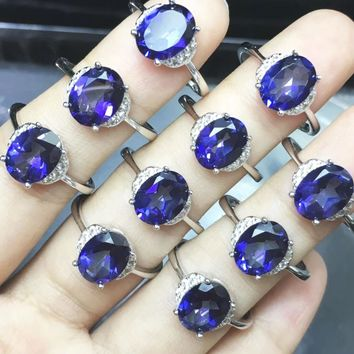 Graceful Woman Natural Stone Gem Jewelry Genuine Dark Blue Topaz Tanzanite Color 925 Silver Jewellery Rings forWedding Party