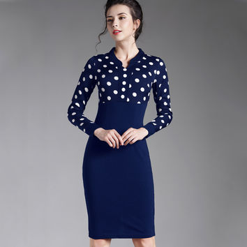 winter black Polka Dots Office Bodycon Pencil patchwork casual work business long sleeve women midi dress 969