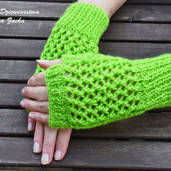 Light Green Fingerless Mittens , fingerless gloves in handmade , warmers gloves , spring gloves